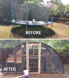 Building A Chicken Coop 498351515007019267 - How to build a homesteading trampoline chicken coop project is a great way to recycle and repurpose a broken item into a truly useful housing for chickens. Source by chantalmalg Portable Chicken Coop, Backyard Chicken Coops, Chickens Backyard, Chicken Coop Pallets, Diy Chicken Coop Plans, Trampolines, Chicken Coop Designs, Chicken Barn, Small Spaces