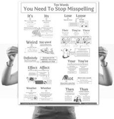 10 Words You Need To Stop Misspelling Poster    An 18″×24″(45cm x 61cm) poster of words that you should never misspell, complete with dolphins and cannibalism.