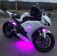 White Honda CBR under glow