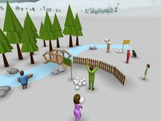 This virtual snowball fight could also be explored in VR on a smartphone.
