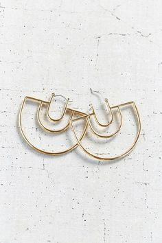18k Gold Plated Geo Hoop Earring - Urban Outfitters