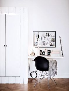 Inside a Chic Small Home With Major Style | DomaineHome.com // Small workspace with modern desk chair.