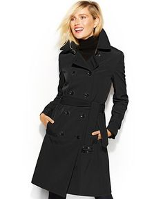 Calvin Klein Double-Breasted Belted Trenchcoat - Coats - Women - Macy's $99