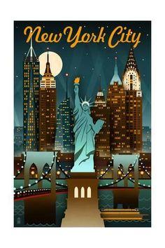 New York City, New York - Retro Skyline Kunstdruk