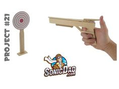 Make an accurate rubber band gun from these simple supplies in just a few minutes. See how it's done - download PDF instructions at SonicDad.com.