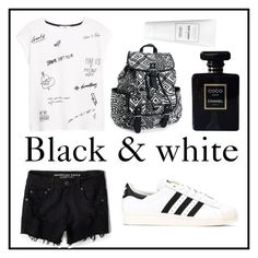 #129 black & white by xjet1998x on Polyvore featuring polyvore, fashion, style, MANGO, American Eagle Outfitters, adidas, Aéropostale and Chanel