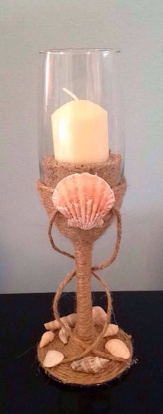 A personal favorite from my Etsy shop https://www.etsy.com/listing/504608032/beach-themed-wine-glass-candle-holder