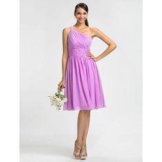 Sheath/Column One Shoulder Knee-length Chiffon Bridesmaid Dress $70