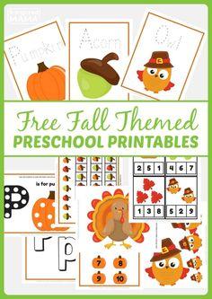 Free Fall Themed Preschool Printables