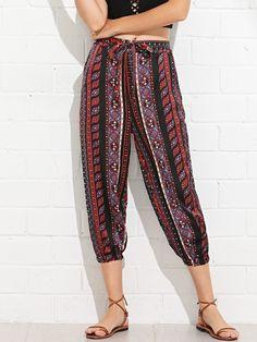 Boho Tribal Regular Mid Waist Multicolor Cropped Length Waist Knot Print Tribal Pants with Belt Tribal Pants, Pants Pattern, Rompers Women, Fashion Outfits, Womens Fashion, Women's Leggings, Knots, Harem Pants, Pants For Women