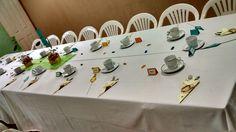 Mesa decorada para el Día del Padre Triangle, Table Settings, Table Decorations, Mesas, Place Settings