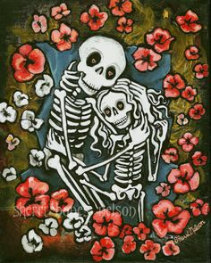 Romantic Day of the Dead Art. Skeleton Couple Embrace in Poppies. Gothic Wedding, Love, Anniversary Gift. Tattoo Flash Art Print