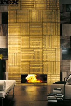 25 Most Popular Fireplace Tiles Ideas This Year, You Need To Know – Fireplace tile ideas Fireplace Frame, Brick Fireplace, Fireplace Surrounds, Fireplace Design, Gold Interior, Interior Exterior, Interior Design, Contemporary Tile, Design Moderne