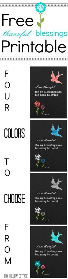 Four Free Chalkboard Printables {thankful blessings} - Fox Hollow Cottage Project Life, Scrapbooking, Fuchsia, Chalkboard Art, Word Art, Free Printables, Paper Crafts, Diy Crafts, Blessed