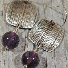 Silver and Amethyst Textured Dangle Earrings with by MyBrownWren, $59.00