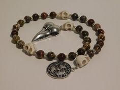 THE MORRIGAN Pagan Prayer Beads Celtic Goddess Triskele Raven | Etsy Wiccan, Pagan, Celtic Goddess, Witchcraft Supplies, Triple Goddess, Prayer Beads, Gods And Goddesses, How To Make Beads, Crow