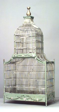 Old French birdcage - I have one similar to this, might paint it - this is so pretty!