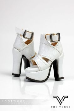 B578 The Vogue White Leather Fashion Ankle Boots Shoes for FR Barbie
