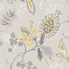Large Floral in Grey and Yellow - GC29829 - traditional - Wallpaper - Pebblestone Wallcoverings