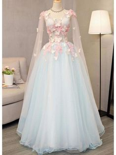 Outlet Comely Prom Dresses Long Butterfly Appliqued Long Blue Princess Ball Gowns Cap Sleeve A Line V Neck Prom Dresses V Neck Prom Dresses, Ball Gowns Prom, A Line Prom Dresses, Ball Dresses, Quinceanera Dresses, Ball Gowns Fantasy, Lace Evening Dresses, Teen Dresses, Long Dresses