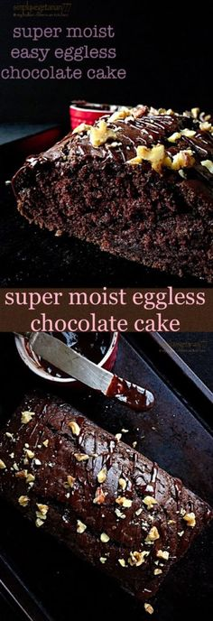 Learn how to make Super Moist Easy Eggless Chocolate Cake with few ingredients. It is an efficient and easy recipe that any beginner can bake. You will never bake a chocolate cake any other way. Eggless Desserts, Eggless Recipes, Eggless Baking, Baking Recipes, Cookie Recipes, Dessert Recipes, Easy Recipes, Blueberry Recipes, Chocolate Banana Bread