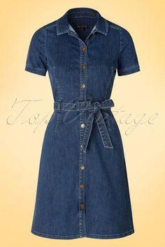 King Louie Kate Button Denim Blue Dress 106 30 16558 20160315 0010a