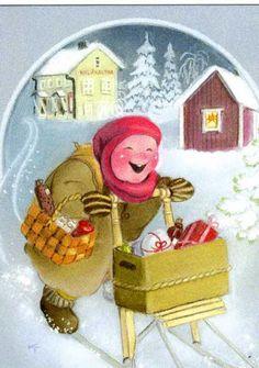 Pin by P i e t e r n e l on ☆ K a a r i n a T o i v a n e n . Vintage Christmas, Christmas Crafts, Funny Drawings, Christmas Illustration, Goblin, Finland, Winter Wonderland, Advent, Scandinavian