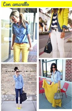 Blusa de mezclilla con amarillo! chambray outfit ideas pinterest