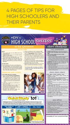 Keys to High School Sucess Study Tips For Students, Note Taking Tips, Exams Tips, High School Life, College Planning, Academic Success, Reading Skills, High School Students