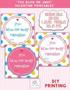 Valentine Printables You blow me away by KCKCreativeMarket