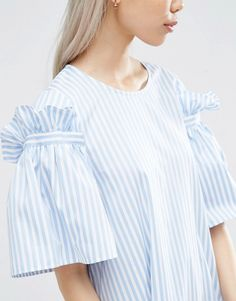 Image 3 of ASOS WHITE Stripe Frill Dress