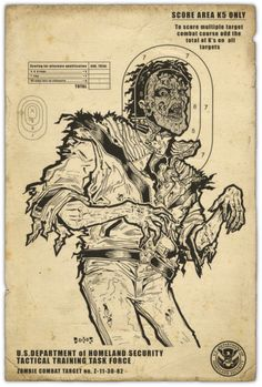 Zombie shooting target poster