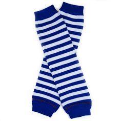 $7.95 + $4.74 shipping Navy Blue & White Stripes, Organic Cotton Baby Leg Warmers