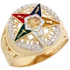 14k Real Gold Eastern Star Enamel Colorful Stylish Diamond Ladies Ring $382.46 #JewelryLiquidation #Jewelry