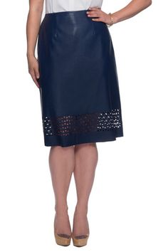 Plus Size Laser Cut Skirt in Navy | MYNT 1792
