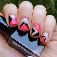 Red black and nude geometric nail art