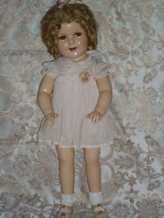 """vintage antique 27"""" flirty eyes shirley temple composition doll 1930's"""