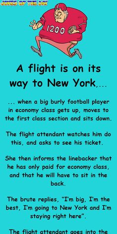 Funny Long Jokes, Funny Jokes For Adults, Good Jokes, Funny Humor, Britney Spears Photos, Joke Of The Day, First Class, Flight Attendant, Football Players