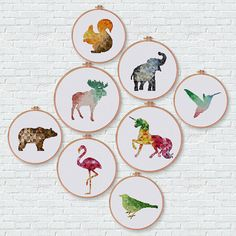 Geometric Flamingo cross stitch pattern Modern pink flamingo