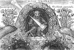 """Detail on the cover of the """"Rosa Ursina"""", Christoph Scheiner, 1630  with a representation of the phenomenon of the camera obscura."""