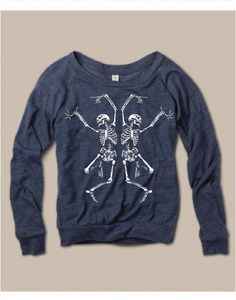Womens Halloween Dancing SKELETON Screen Print by FreeBirdCloth