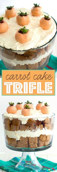 """This springtime carrot cake trifle features layers of moist carrot cake and no-bake cheesecake filling. Jazz it up with your favorite carrot cake additions such as walnuts or raisins. Topped with adorable decorations like chocolate covered strawberry """"carrots,"""" this dessert is sure to be an Easter showstopper!"""