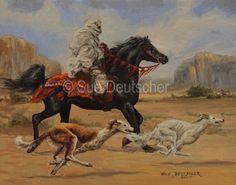 Deutscher, Sue - Arab Horseman w Salukis