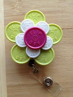 Extra Large Flower ID Badge Holder With Retractable Reel - Made From Flip Off Vial Caps (purple, white, green, black, floral)