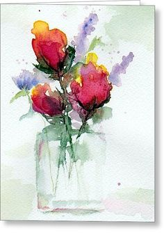 In A Vase Greeting Card by Anne Duke