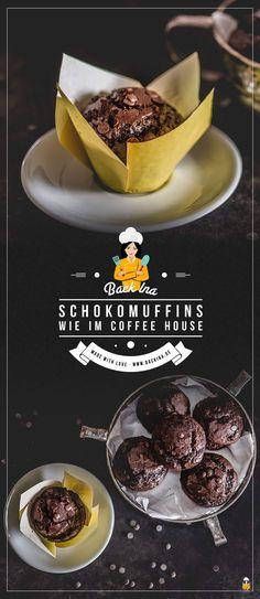 Du willst XXL Schokomuffins mit hohem Deckel und richtig schokoladigem Geschmack? Dann sind diese saftigen Schoko Muffins wie im Coffeeshop, bei McDonald's und Co. genau richtig für dich!   BackIna.de