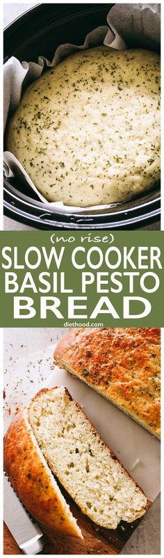 (No-Rise) Slow Cooker Basil Pesto Bread - This no-rise, no-fuss, SUPER DELICIOUS slow cooker bread is packed with basil pesto and it's probably one of the most flavorful bread recipes you will ever make! via paleo crockpot slow cooker Slow Cooker Bread, Bread Crockpot, Crock Pot Slow Cooker, Crock Pot Cooking, Slow Cooker Recipes, Cooking Recipes, Crock Pot Bread, Slower Cooker, Crockpot Meals