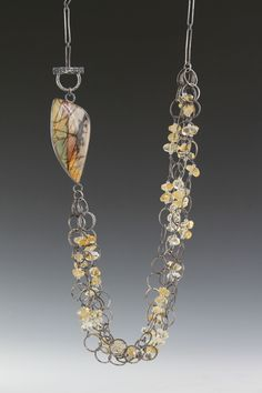 Red Creek Jasper & Citrine Nugget bead Necklace, hand fabricated chain...Deb Fanelli