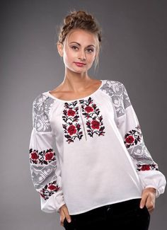 Жіноча сорочка з волинським узором Ukrainian embroidery. The red rose and black foliage are traditional emblematic of Kyiv (Kiev) - one of the major cities of the ruling Grand-Princes of my ancestors. Folk Fashion, Ethnic Fashion, Womens Fashion, Folk Embroidery, Shirt Embroidery, Mexican Dresses, Embroidered Clothes, Traditional Fashion, The Bikini