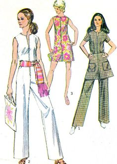 50889a3adf6 Womens Jumpsuit Romper Mini Skirt Front Zip Pantdress 1970s Vintage Sewing  Pattern Simplicity 8745 Bust 36